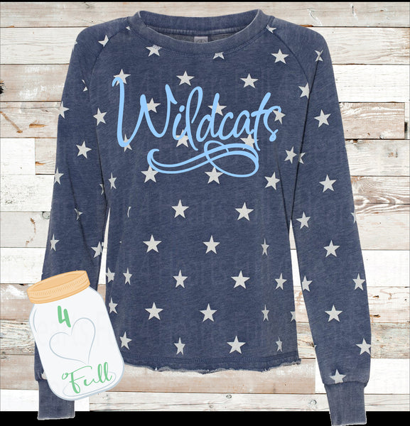 Small Adult Wildcats star raw hem sweatshirt