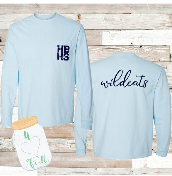 Youth & Adult HBHS Wildcats Long Sleeve Pocket Tee