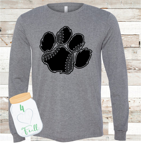 Adult and Youth long sleeve Tigers Baseball paw Bella Canvas Tee