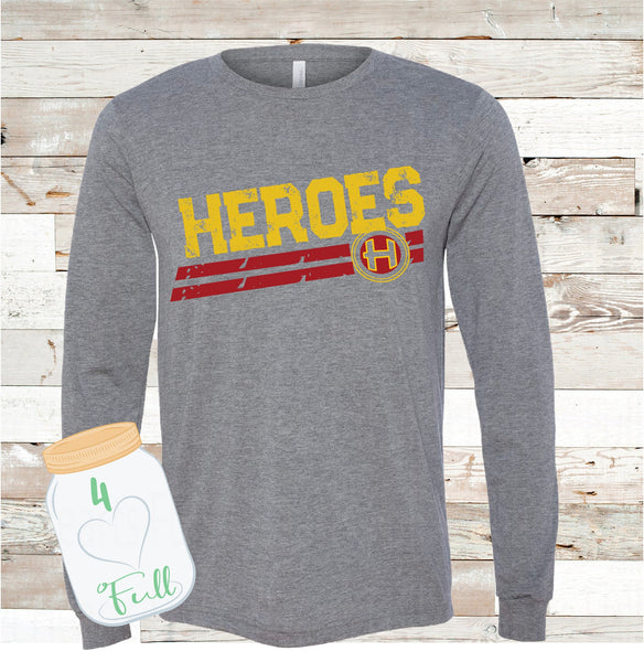 Distressed Heroes Gray long sleeve Tee Youth and Adult