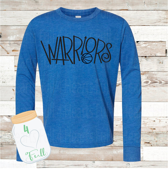 VINTAGE LOOKING Warriors Basketball Blue Long Sleeve Tee Youth and Adult