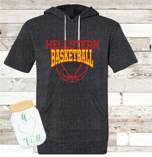 Hellstern basketball short sleeve hoodie Youth and Adult