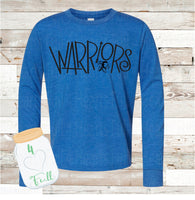 VINTAGE LOOKING Warriors Blue Long Sleeve Tee Youth and Adult
