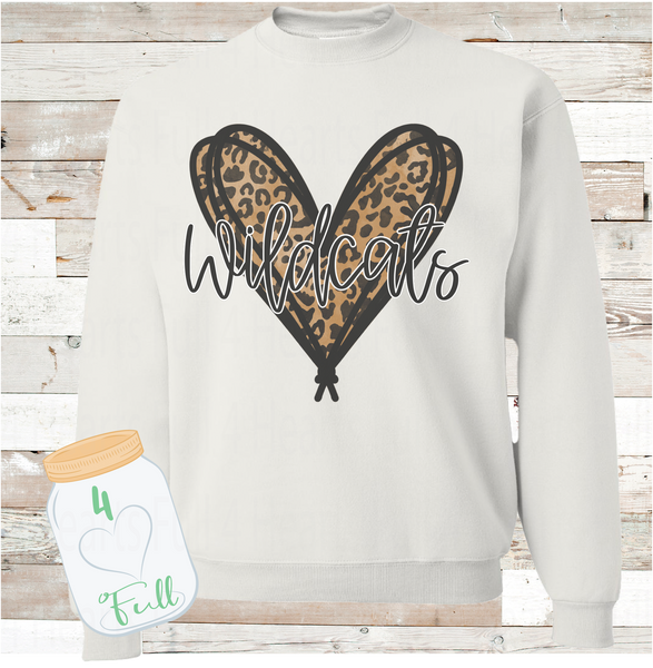 Youth and Adult Leopard Heart Wildcats White Sweatshirt