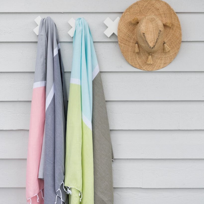 Knotty Colourblock Turkish Towel - COOLUM