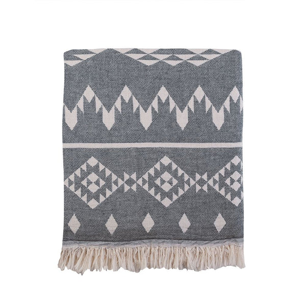 Kilim Knotty Beach Blanket - Charcoal