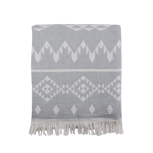 Kilim Knotty Beach Blanket - Grey - Knotty.com.au