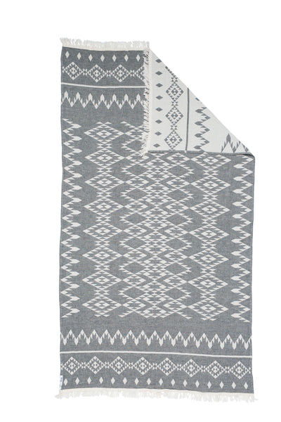 Oteki Knotty Turkish Towel - KILIM Charcoal - Knotty.com.au