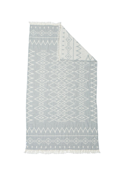 Oteki Knotty Turkish Towel - KILIM Grey - Knotty.com.au