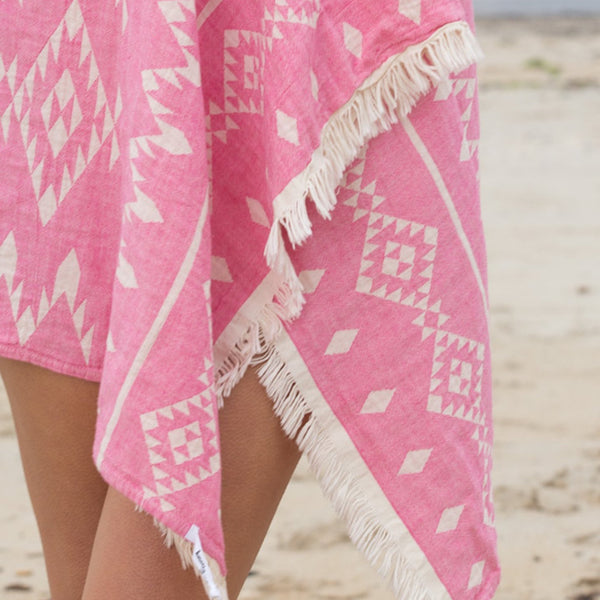 Kilim Knotty Turkish Towel - Raspberry