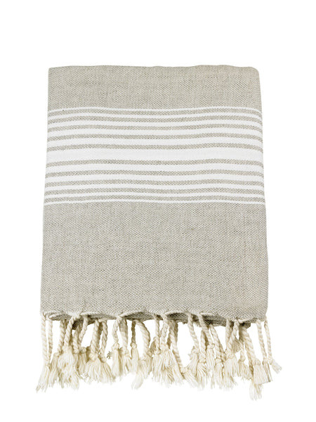 Linen Knotty Turkish Towels - White