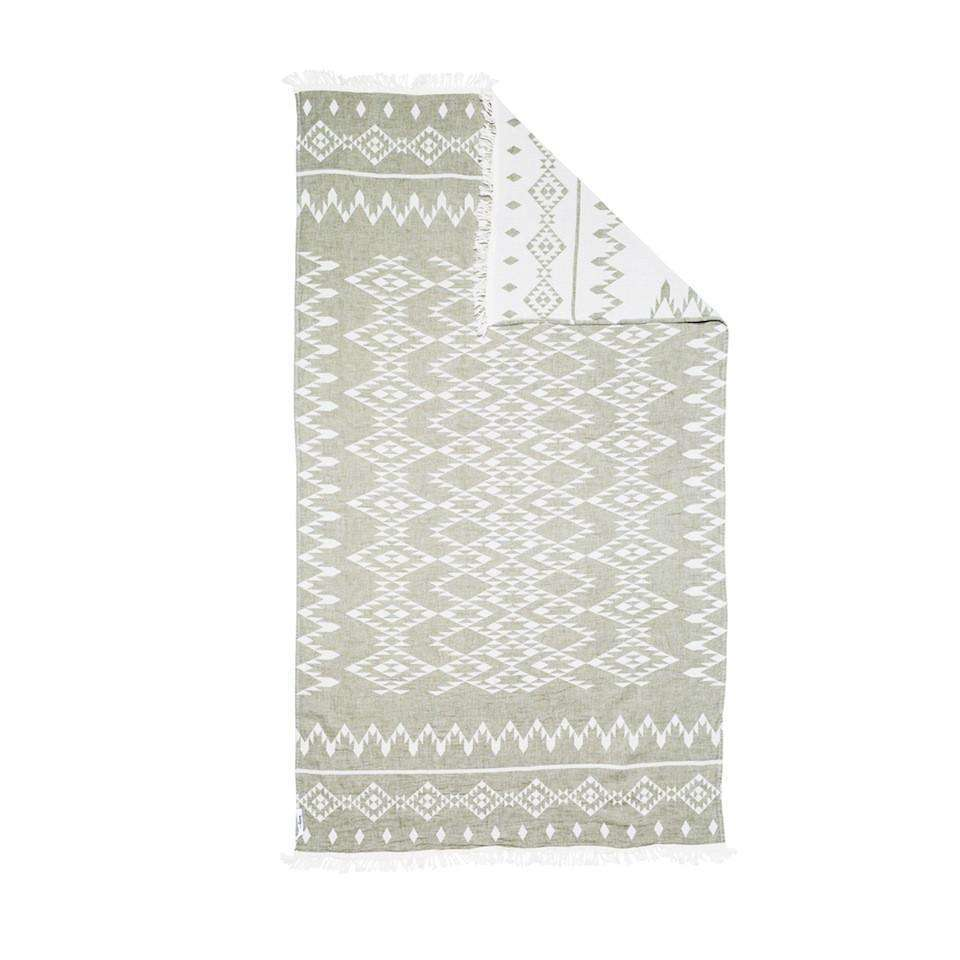 Oteki Knotty Turkish Towel - KILIM Khaki - Knotty.com.au