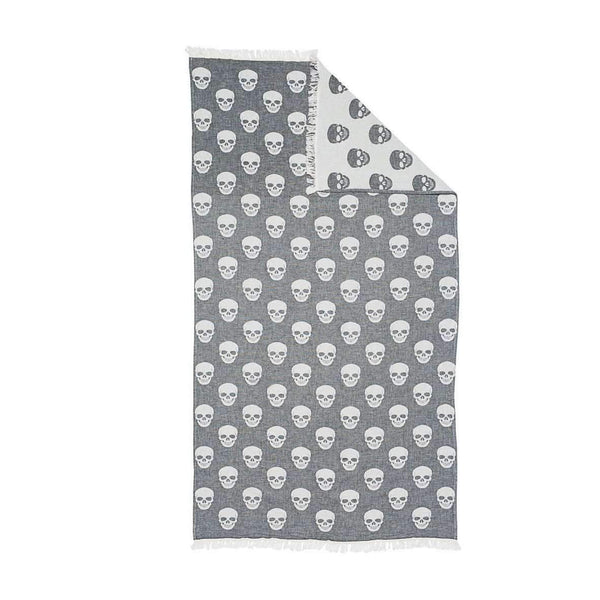 Oteki Knotty Turkish Towel - SKULL Charcoal - Knotty.com.au