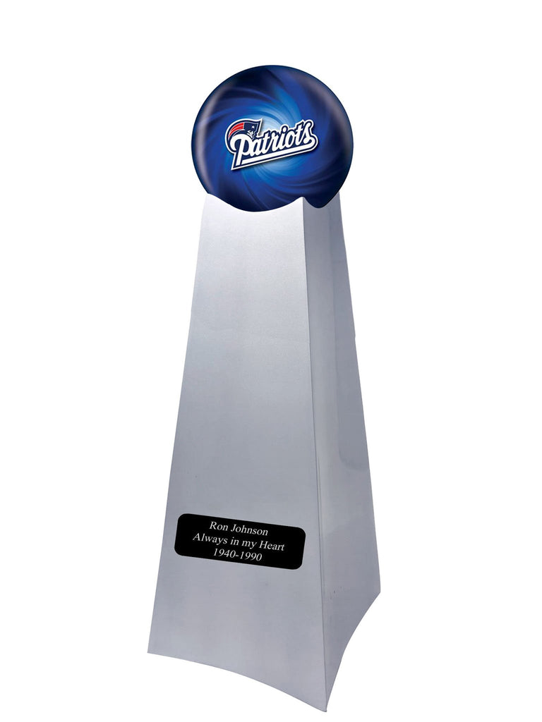 Championship Trophy Cremation Urn with Optional Football and New England Patriots Ball Decor and Custom Metal Plaque