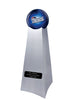 Image of Championship Trophy Cremation Urn with Optional Football and New England Patriots Ball Decor and Custom Metal Plaque