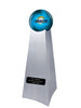 Image of Championship Trophy Cremation Urn with Optional Football and Los Angeles Chargers Ball Decor and Custom Metal Plaque