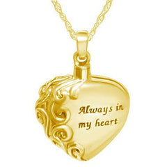 Always in My Heart Keepsake Pendant in Gold - Exquisite Urns