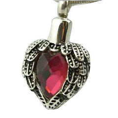 Angel Heart Wing Keepsake Pendant in Red - Exquisite Urns