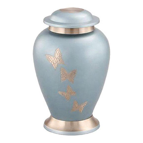 Sky Blue Butterfly Cremation Urn for Ashes