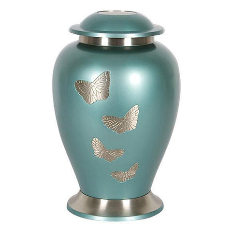 Teal Butterfly Cremation Urn for Ashes