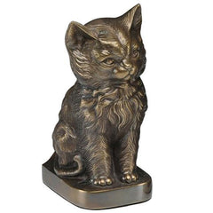 Cat Figurine Pet Urn in Bronze