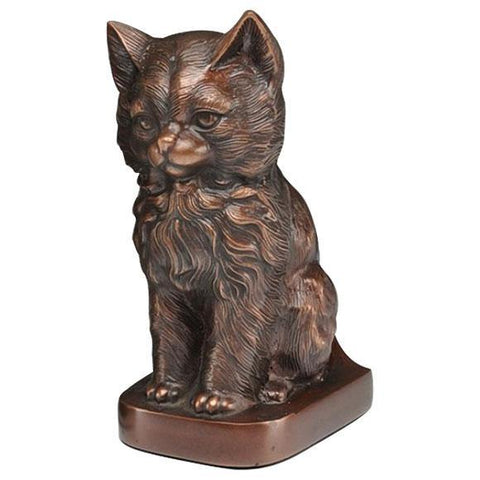 Cat Figurine Pet Urn in Copper