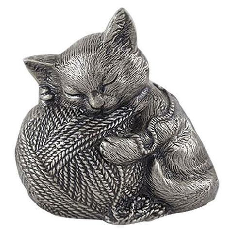 Sleeping Cat Pet Urn in Silver