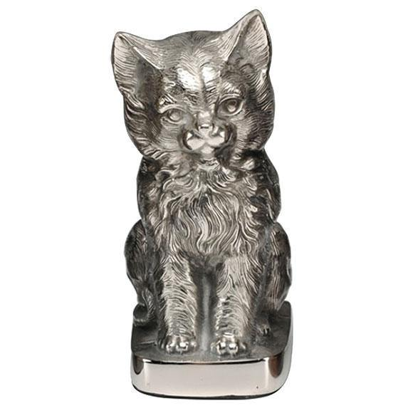 Cat Figurine Pet Urn in Silver