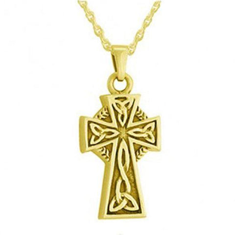 Celtic Cross Cremation Jewelry For Ashes in Gold - Exquisite Urns