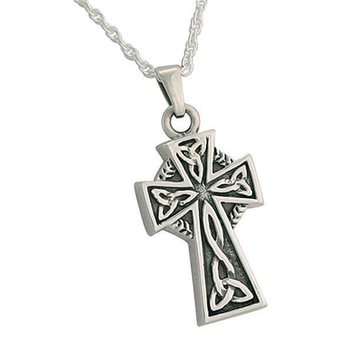 Celtic Cross Cremation Jewelry for Ashes in Silver