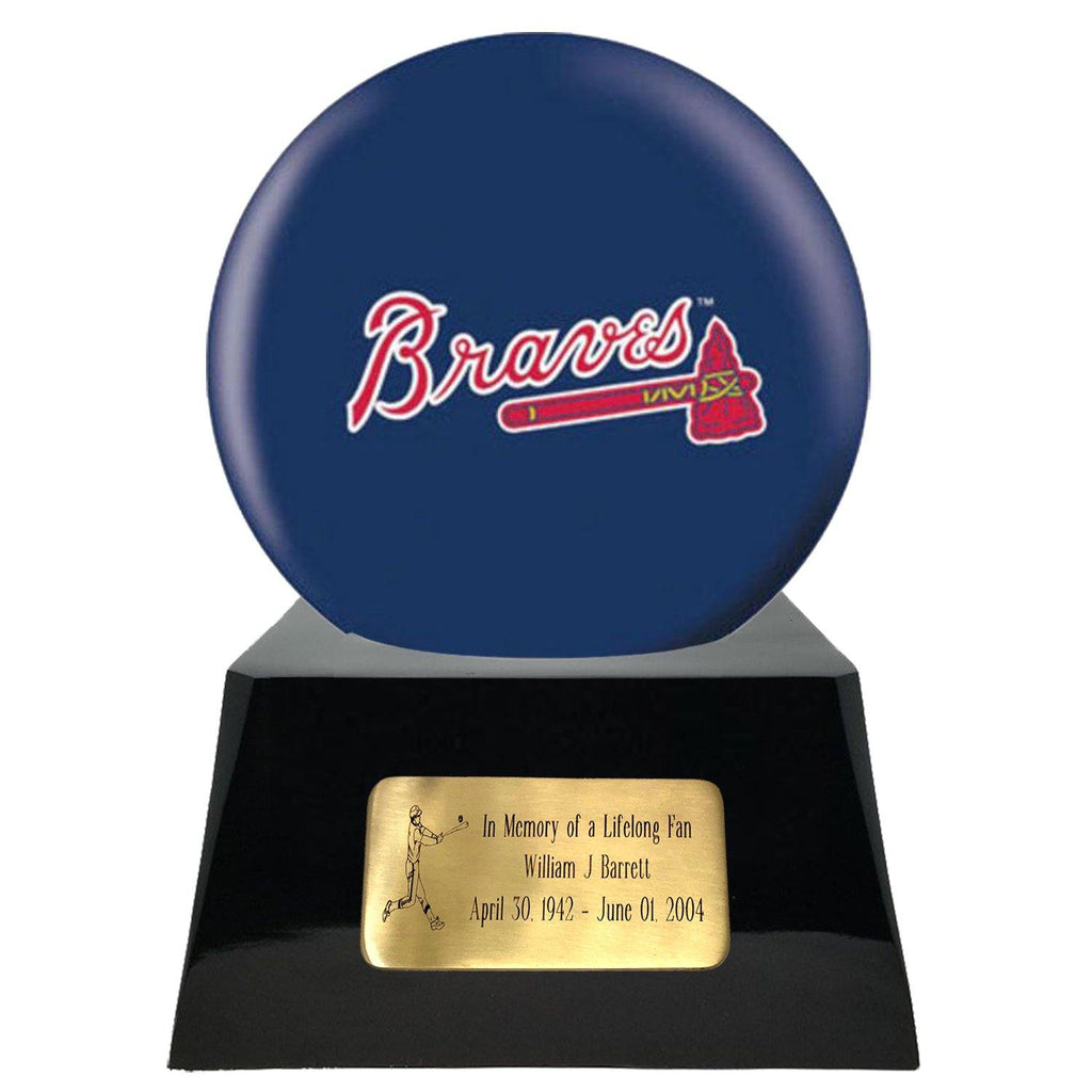 Baseball Cremation Urn with Optional Atlanta Braves Ball Decor and Custom Metal Plaque - Exquisite Urns