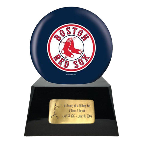 Baseball Cremation Urn with Optional Boston Red Sox Ball Decor and Custom Metal Plaque