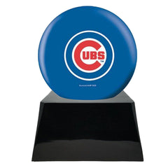 Baseball Cremation Urn with Optional Chicago Cubs Ball Decor and Custom Metal Plaque