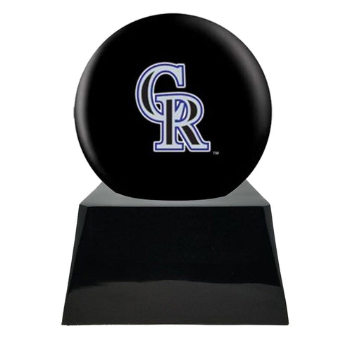 Baseball Cremation Urn with Optional Colorado Rockies Ball Decor and Custom Metal Plaque