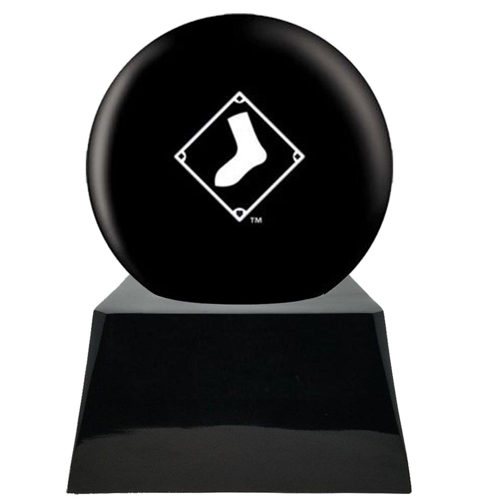 Baseball Cremation Urn with Optional Chicago White Sox Ball Decor and Custom Metal Plaque