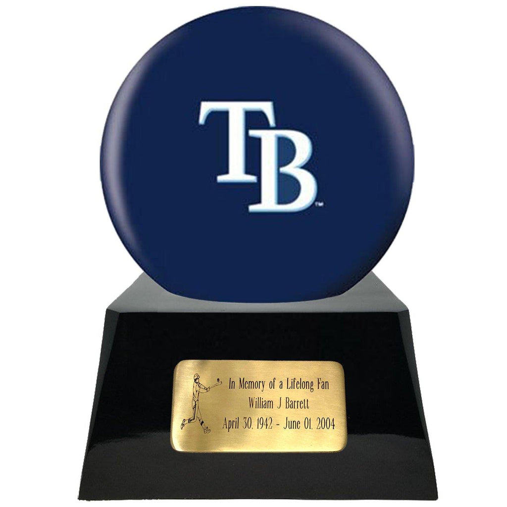 Baseball Cremation Urn with Optional Tampa Bay Rays Ball Decor and Custom Metal Plaque