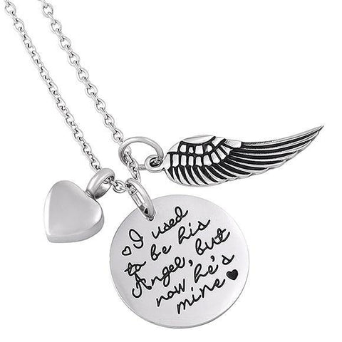 Angel Poetry Cremation Pendant Jewelry - I used to be his Angel, But Now He is Mine