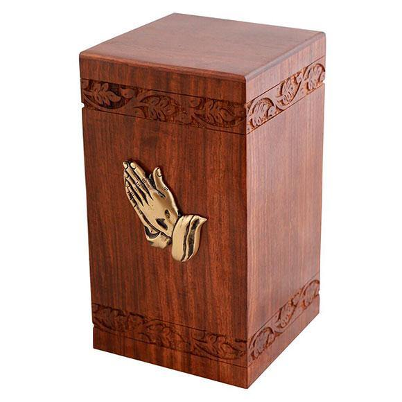 Praying Hands Wooden Cremation Boxes - Inlay, Bordercarved