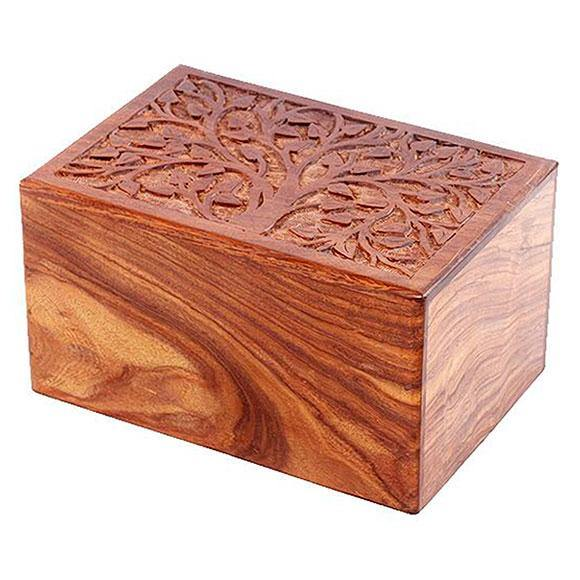 Real Tree Wooden Cremation Boxes - Large Box Design - Exquisite Urns