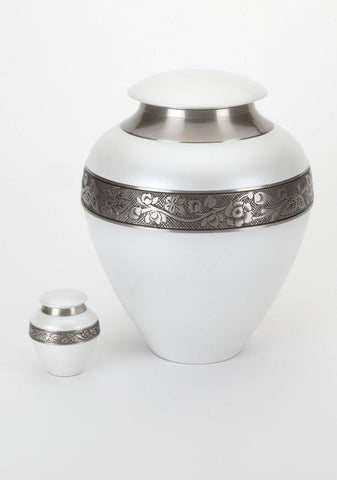 Serene White Cremation Urn for Ashes