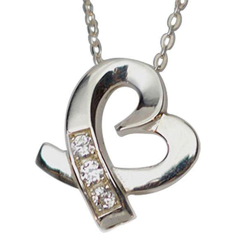 Shimmering Heart Cremation Jewelry Keepsake Pendant in Silver - Exquisite Urns