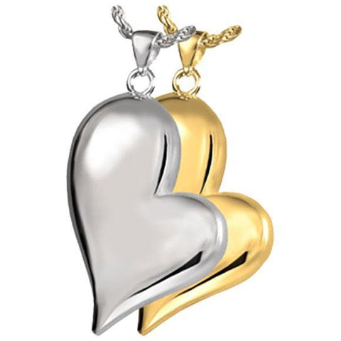 Teadrop Heart Cremation Pendant in 14k White Gold