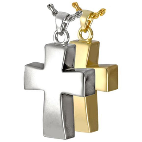 Vaulted Cross Cremation Pendant In Sterling Silver