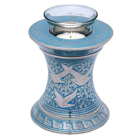 Wings to Eternity Blue Tealight Urn in Blue - Exquisite Urns