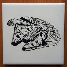 Load image into Gallery viewer, Star Wars laser engraved, decorative ceramic tile coasters.