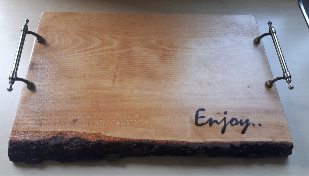Stylish Bark-Edge Beech Serving board with epoxy resin infill