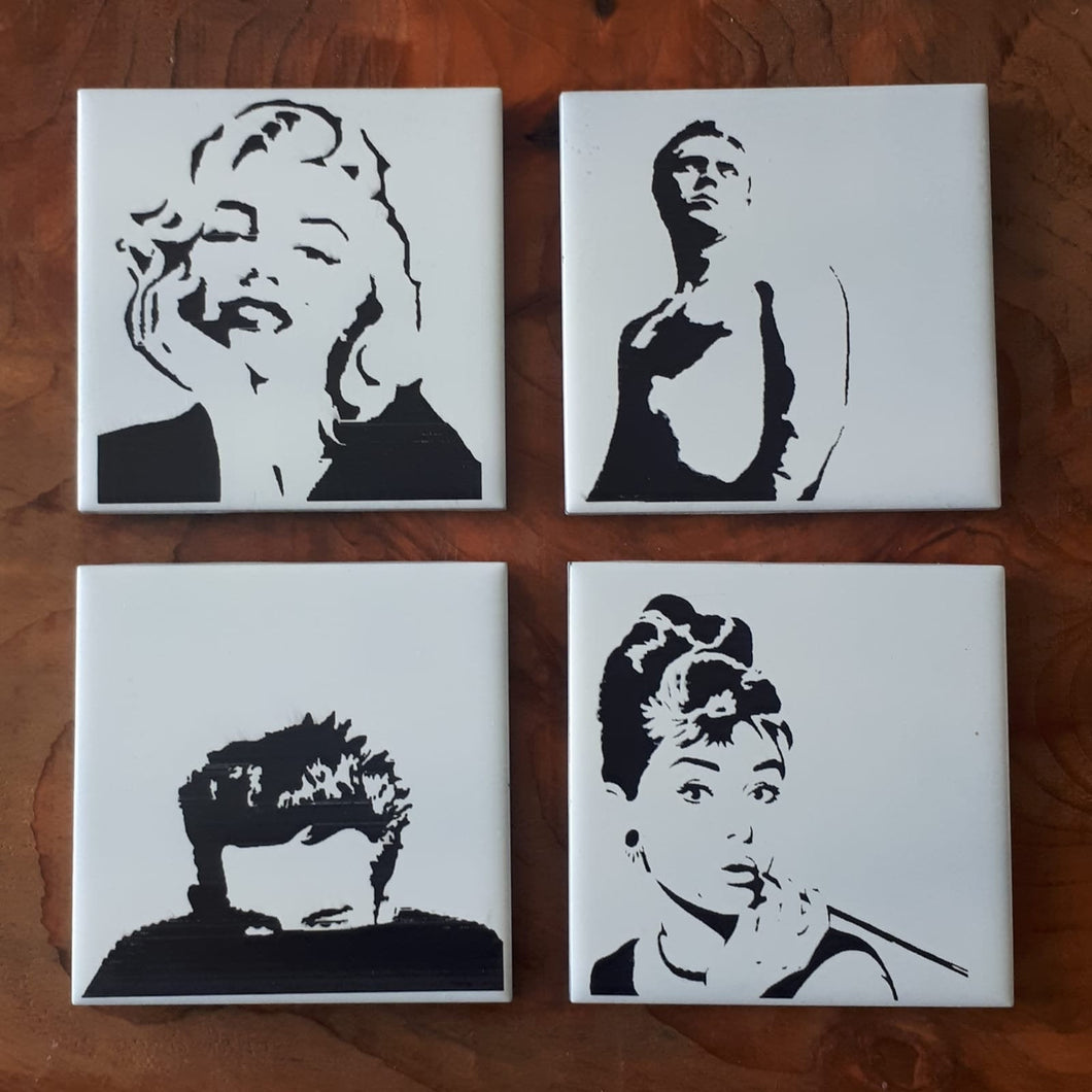 Fabulous Laser engraved ceramic tile Movie icons coasters
