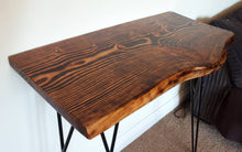 Load image into Gallery viewer, Unique reclaimed wood, hand pyro graphed, living edge console/hallway table.