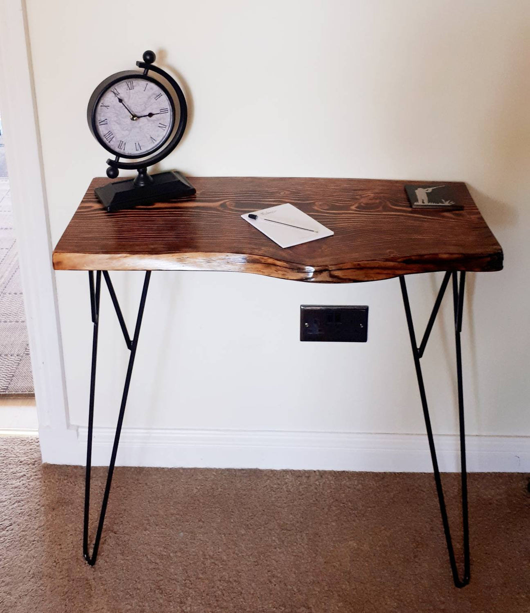 Unique reclaimed wood, hand pyro graphed, living edge console/hallway table.