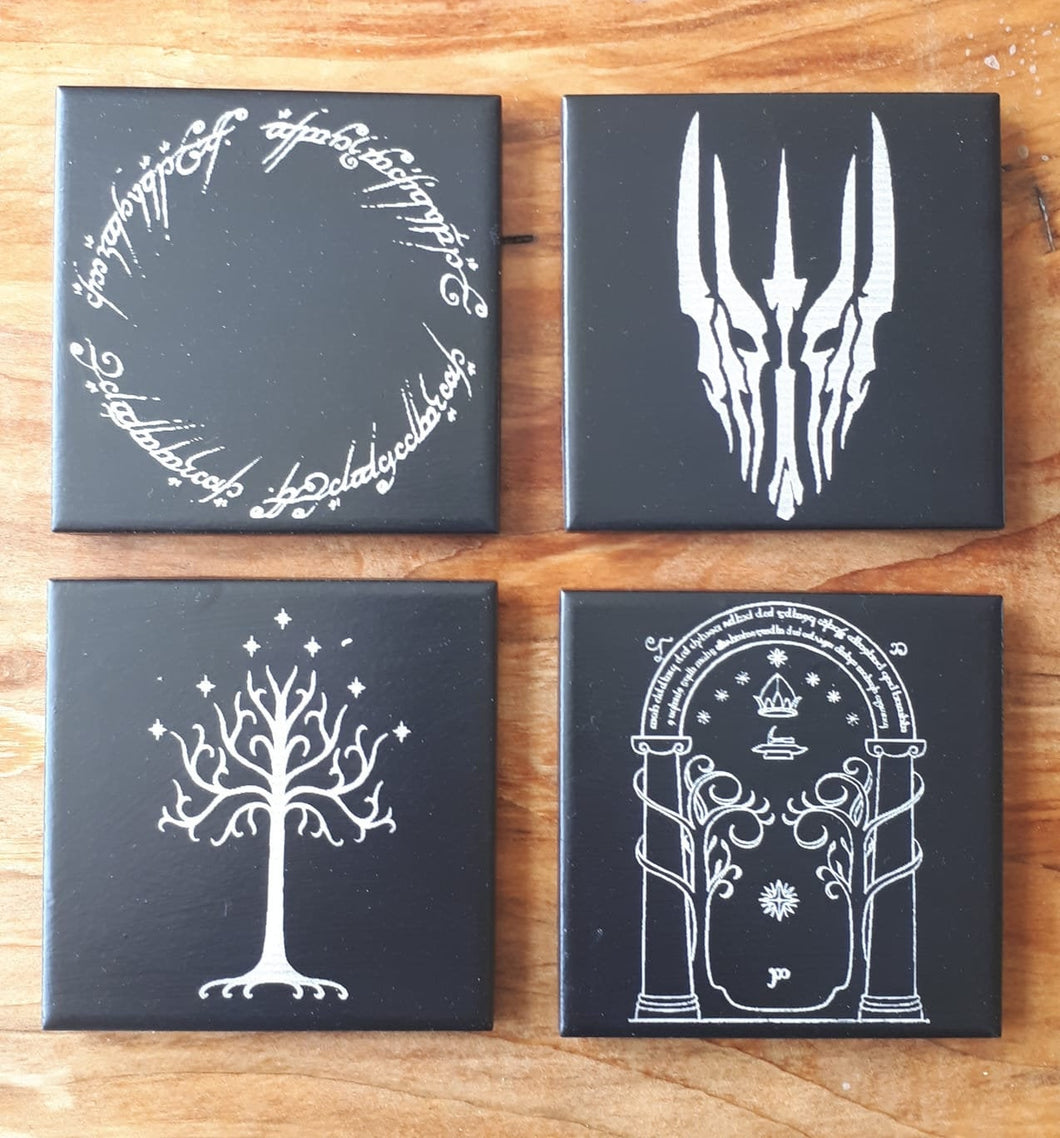 Geek Heaven! Lord of the Rings Laser engraved ceramic tile coasters